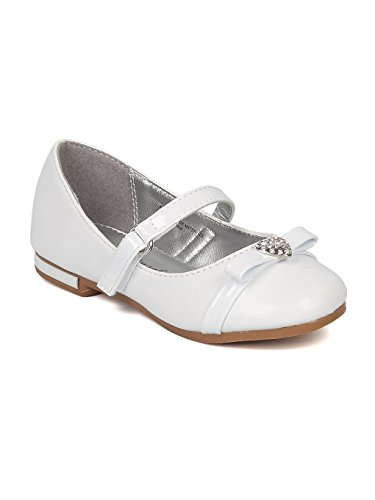 Girls Mary Jane Ballet Flat (Toddler/Little/Big Girl) - Rhinestone Heart Dress Shoe - Bow Tie Ballerina Flat - Dressy Formal - HB74 by LA Collection - White Leatherette (Size: Little Kid 1)