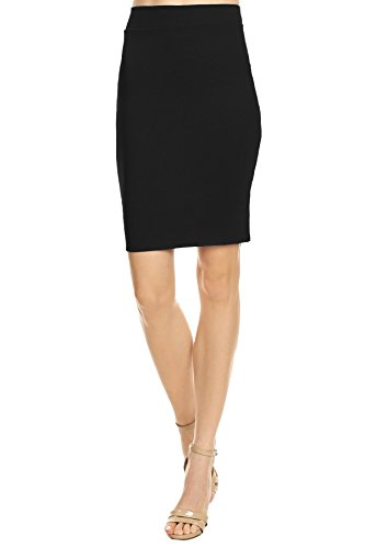 'Lucky Twenty One Womens Office Work Professional Above the Knee Pencil Skirt, Large, Black' - Professional Pencil Skirt