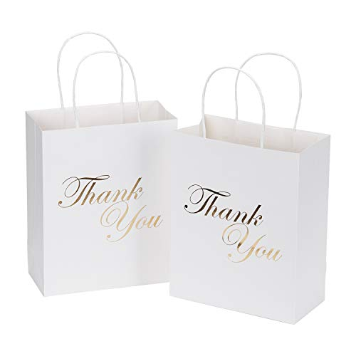 LaRibbons Medium Size Gift Bags - Gold Foil Thank You White Paper Bags with Handles for Wedding, Birthday, Baby Shower, Party Favors - 12 Pack - 8