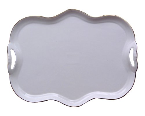 Gracie China Gold Trimmed Porcelain 15-Inch Tea Set Tray (Tray For Tea Sets compare prices)