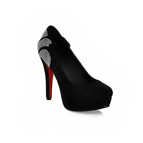 Plate à VogueZone009 Fermé Plateforme Pompe forme Hauts Chaussures PU Talons Talon Givré Femmes Avec Noir Bout Compensé Diamant gSr8Stp