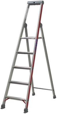 Hymer – Escalera * fabricado en Alemania * con puente de seguridad, bandeja con tapa y gancho para cubo, Plateado: Amazon.es: Bricolaje y herramientas
