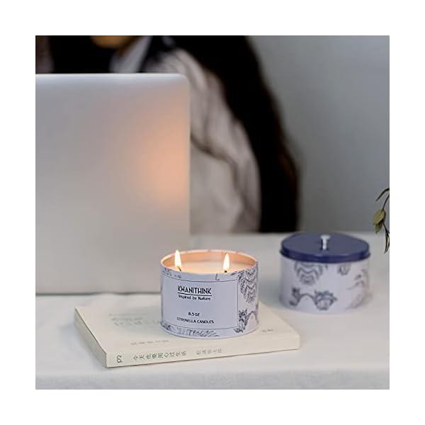 31ec0oglryS KWANITHINK Citronella Kerze,2 x 36 Stunde Natürliche Sojawachs Kerzen, Duftkerze Citronella Kerzen outdoor perfekt für…