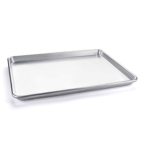 Half Sheet Baking Pan, Vegetables, and Cakes, Commercial Quality Aluminum Steel Cookie Pan Tray, 18 x 13 x 1 Inch Heavy duty, won't warp. Great for Roasting and baking.