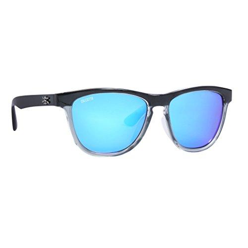 Calcutta Cayman Sunglasses Shiny Black Frame Fade w/ Blue Mirror - Cayman Sunglasses