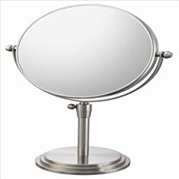 Mirror Image 81775 Classic Adjustable Vanity Mirror, 7.75-Inch Diameter, 1X and 5X Magnification, Brushed Nickel