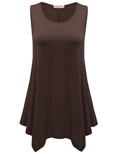 Asymmetric Tunic - BELAROI Womens Plus Size Sleeveless Comfy Tunic Tank Top (S, Coffee)