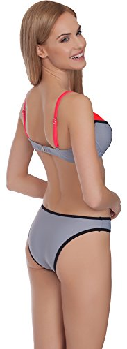 Merry Style Mujer Bikini Set Traje de Baño MS75 Gris/Rojo