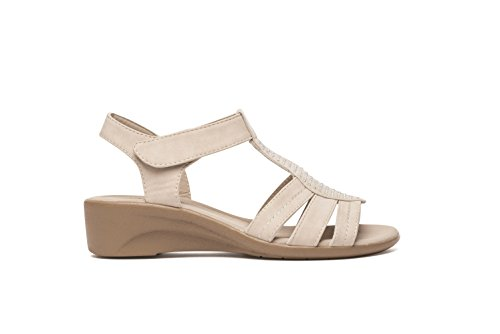 Dr Keller Womens Low Wedge Sandal Diamante T Bar Hook and Loop Closure Size UK 4 5 6 7 8 Nude Grey Nude d2hUhJ