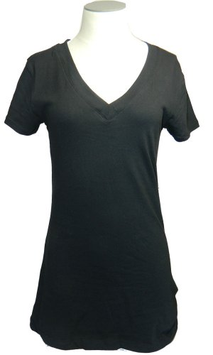 2 Pack Zenana Women's Basic V-Neck T-Shirt Small Black, Whit