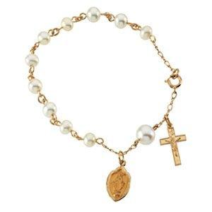 Médaille Miraculeuse en or 14carats perles de culture d'eau douce Bracelet chapelet Rosaire bracelet