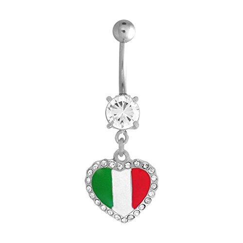 Italian Flag Heart (14g 316L Surgical Steel Italian Flag Heart Shape Dangle Navel Belly Button Ring Body Jewelry Piercing)