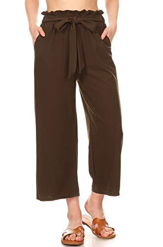 Twill Striped Tie - ShoSho Womens Paper Bag Waist Cropped Pants Casual Wide Leg with Pockets Solid Olive Small