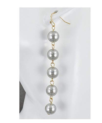 (Grey Faux Pearl Earrings Beaded Chandelier Bead Dangle 3 3/8