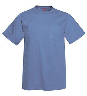6.1 Ounce Pocket T-shirt - Hanes H5590 6.1oz. Tagless Pocket T-Shirt - Denim Blue - XL