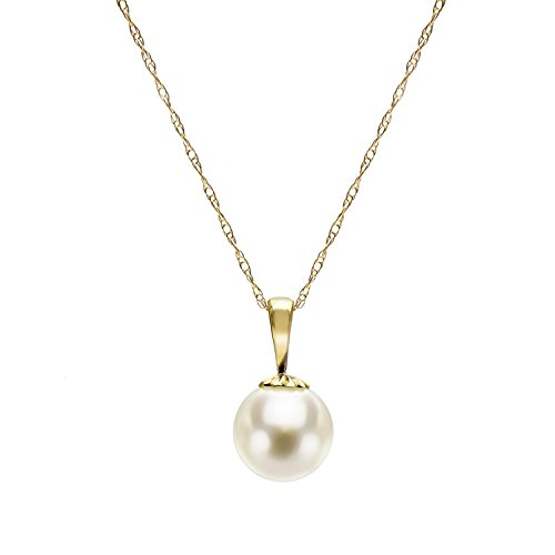 14k Yellow Gold 8-8.5mm White Japanese Akoya Cultured High Luster Pearl Pendant Necklace, - Akoya Japanese Pendant Pearl