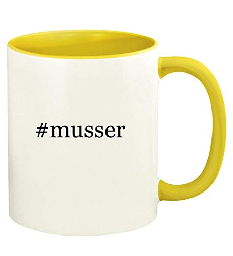 #musser - 11oz Hashtag Ceramic Colored Handle and Inside Coffee Mug Cup, - Cord Vibraphone Yellow