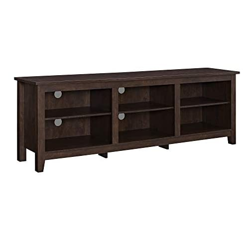 Walker Edison Wren Classic 6 Cubby TV Stand for TVs up to 80 Inches, 70 Inch, Brown