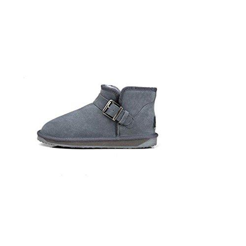 Plat Rembourré Chaussures En Coton Bottes Chaud Hiver Tube Gris Neige De 41 Court pwB4vq
