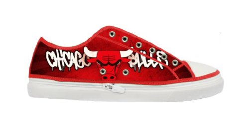 Lady's Nonslip Canvas Shoes with Rubber Soles for Chicago Bulls Fans