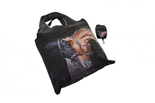 Old Friends Fold Away Shopping Bag in a Bag - 2 Horses Nuzzling on reusable tote by COUNTRY MATTERS UsEdNAfc
