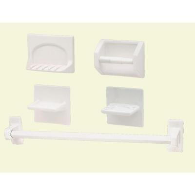 Porcelain 5 Piece Bath Set - Lenape Professional Series 5-Piece White Porcelain Bath Accessory Set