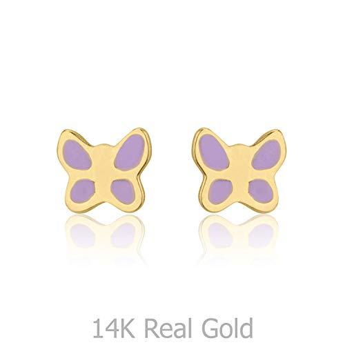 14K Fine Yellow Gold Enamel Butterfly Screw Back Stud Earrings for Girls Kids Gift Children ()