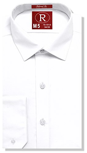 Real Cotton Mens Fitted White Dress Shirt or Tuxedo Shirt, 100% Cotton, Fashion Cuff, Spread Collar