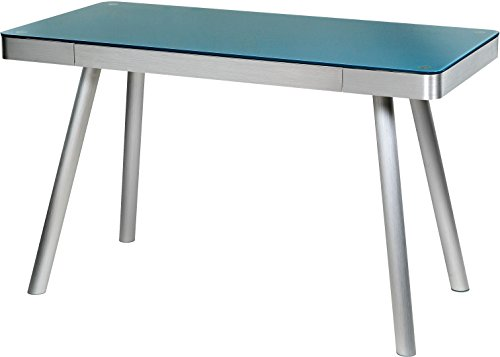 OneSpace Easy Assembly Cool Blue Glass Writing Desk with Brushed Aluminum Frame