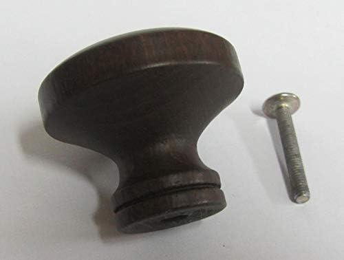 Pomello pomolo in legno x mobili armadi cassetti faggio tinto noce scuro /ø 45 mm