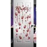 Bloody - Beware - plastic Halloween Wall or Door Decor (5 feet x 30 inch)