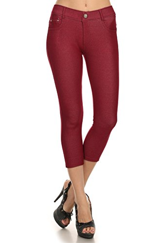 ICONOFLASH Women's Stretch Capri Jeggings - Slimming Cotton Pull On Jean Like Cropped Leggings - Regular and Plus Size (Burgundy, Medium) 817JN201BUGM