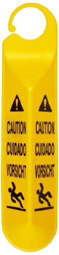 Rubbermaid Commercial Yellow Hanging Safety Sign with Multi Lingual Caution Imprint and Falling Person Symbol ()