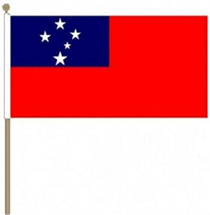 Flagmania® Pack de 12 Banderas de Mano de Samoa (Western) (9