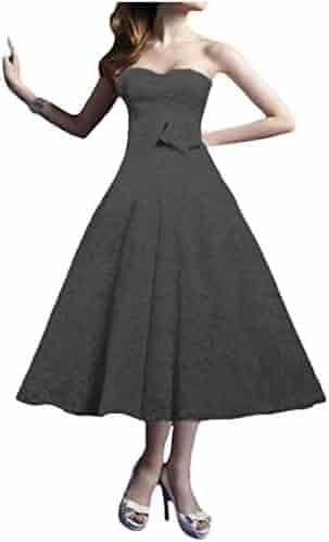 dc235cb58ee P.L.X Women Lace Tea-Length Vintage Retro Party Wedding Dresses Bridal Ball  Gown