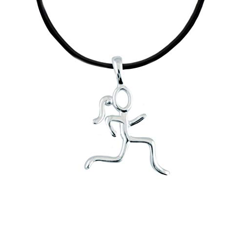 (Gone For a Run Sterling Silver Stick Figure Runner Necklace | .925 Sterling Silver Necklaces | Running Jewelry | 18