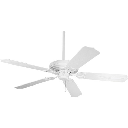 Progress Lighting P2502-30 52-Inch Patio Fan with 5 Blades and 3-Speed Reversible Motor White Fan with Abs White Blades for Outdoor Use, White