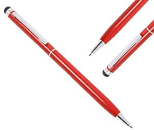 Bloutina iTALKonline RED IDUO Captive Touch Tip Stylus Pen with Rubber Tip with Roller Ball Pen for Asus Transformer TF701T...