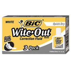 BIC Products - BIC - Wite-Out Quick Dry Correction Fluid, 20 ml Bottle, White, 3/Pack - Sold As 1 Pack - Get quality corrections quickly with a foam applicator that provides neater, more precise correctionsthan standard brushes. - For water- and solvent-based inks, permanent marker, ballpoint and roller pen, highlighter, pencil, laser and inkjet and more. - Advanced technology allows application of just the right amount of fluid-every time!. - No fuss, no mess, just neater, more precise cor