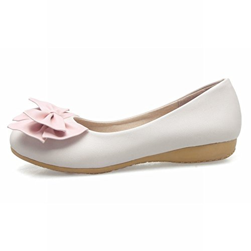 Carolbar Womens Bows Elegance Comfort Lolita Cute Sweet Flats Shoes Beige 9NK3nd