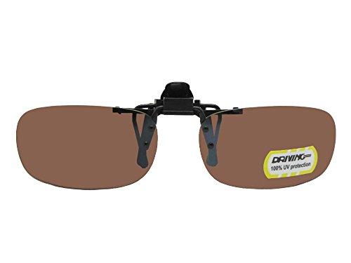 Slim Rectangular NON Polarized Amber Driving Lens Flip Up Sunglasses (Black Frame Non Polarized Amber Lenses, 58mm Wide x 34mm - Flip Sunglasses Attachment Up