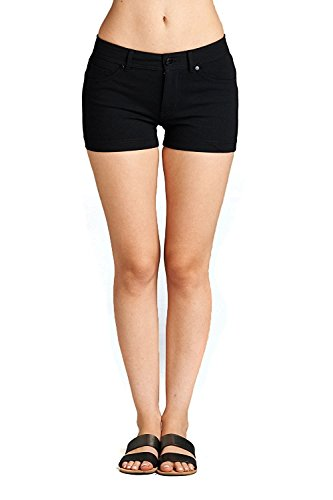 Emmalise Women's Summer Casual Stretchy Low Rise Booty Shorts - Black, - Costume Croft Lara
