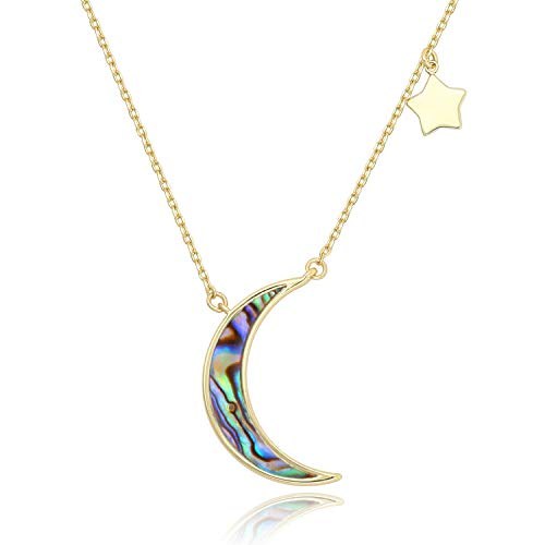 COZLANE Crescent Moon Necklace Half Moon and Stars Natural White Shell Pendant Necklace Fashion Jewelry for Women Girls