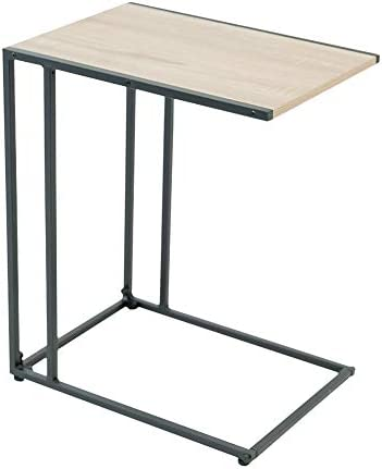 C-Hopetree Small Side Coffee End Table for Sofa – Black Metal Wood Look