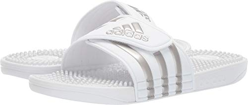 adidas Women's Adissage Slides, White/Platino Metallic/White, 6 M US (White Jordan Sandals)