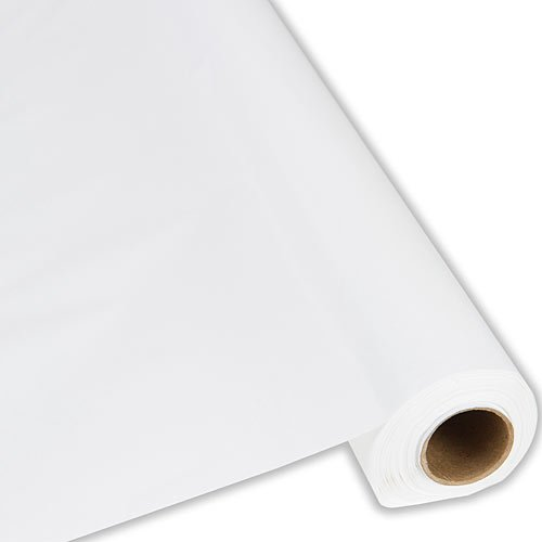 Plastic Party Banquet Table Cover Roll - 300 ft. x 40 in. - Disposable Tablecloth (White) -