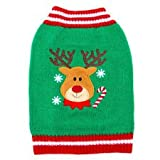Top Paw Pet HOLIDAY Green REINDEER Dog Sweater ~LARGE~