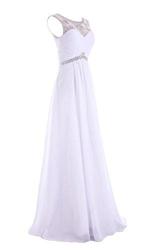 dress49 Line Ball 'bridesmaid Edelsteinbesetztes Weiß Damen A Chiffon missydress Abend v8UfTv