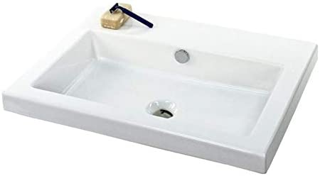 Tecla CAN01011-No Hole Cangas Rectangular Ceramic Self Rimming Wall Mounted Sink, White