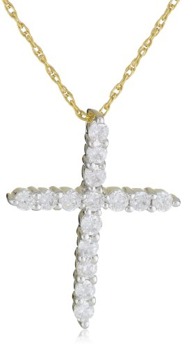 10k Yellow Gold Diamond Cross Pendant (1/2 cttw, J-K Color, I3 Clarity), 18″
